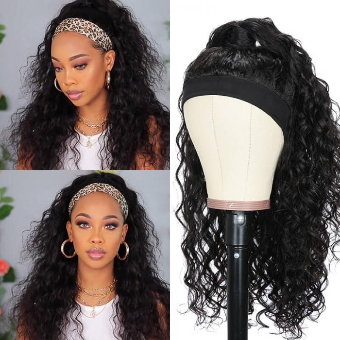 Flash Deal Unice Headband Scarf Wig Water Wave Human Hair Wig 18 Inch