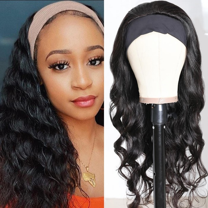 UNice New Headband Wig Body Wave 22 Inch Headband Half Wig Human Virgin Hair Wig Bettyou Wig Series