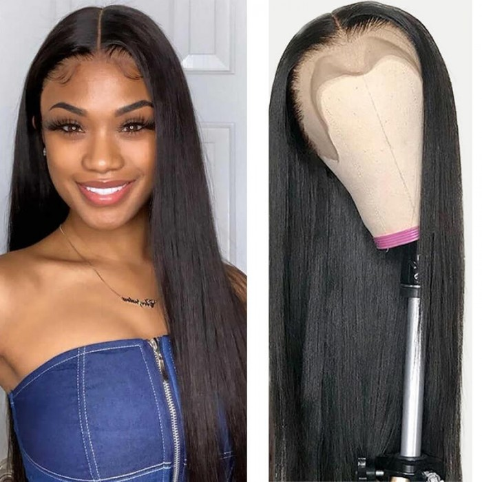 Flash Deal Pre Plucked Natural Hairline Straight 13*4 Lace Front Wigs 130% Density Medium Thick 100% Virgin Human Hair