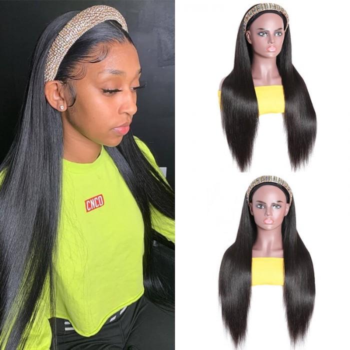 FLASH DEAL: Beginner Friendly Brazilian Silk Straight Headband Virgin Human Hair Wig Glueless 150% Density Without Bangs