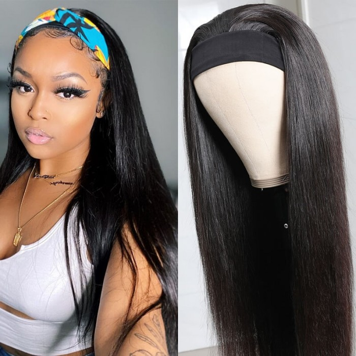 UNice Straight Human Hair Wig Glueless Wig Brazilian Virgin Hair Machine Made Headband Wig 150% Density Bettyou Series