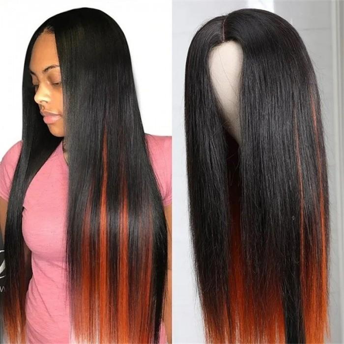 Unice Hair 4.5x1.5 Invisible Knots PU Silk Base Wig Straight Human Hair Wig 150% Density Highlight Straight Ginger Orange Wig Black Women Bettyou Series