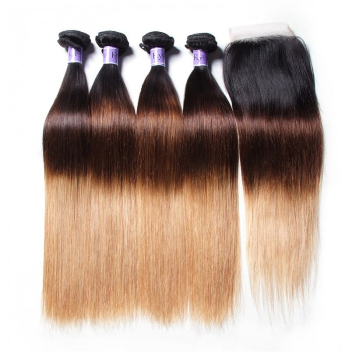 UNice Hair Kysiss Series Virgin Human Hair 4 Bundles T1B/4/27 Ombre straight Hair With Lace Closure