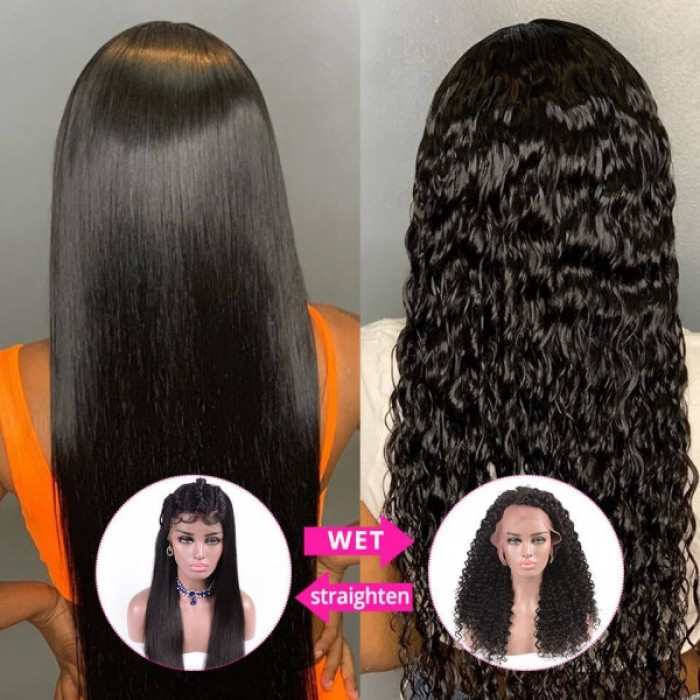 Selected 24inch Virgin Magic Wet and Wavy Deep Wave 13*4 Lace Front Wig 150% Density Natural Black