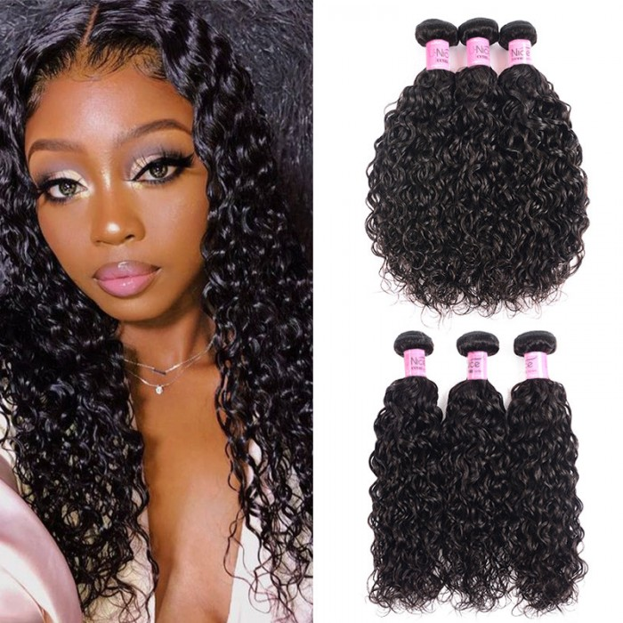 UNice Hair Unprocessed Brazilian Virgin Hair Loose Water Wave 3 Bundles Human Hair Natural Black Color Icenu Series