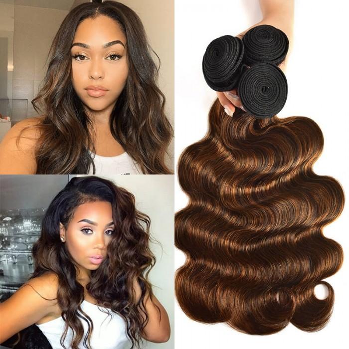 UNice Selected Brown Balayage Highlight Human Hair Weave #FB30 Body Wave Hair Bundles 3 Bundle Deals Icenu Series