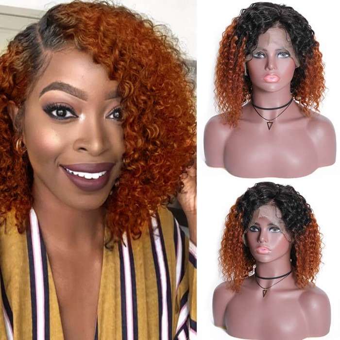 UNice Ombre Copper Color Wine Red Color Short 13x4 Lace Front Human Hair Curly Bob Wigs 150% PrePlucked Human Hair Wig Bettyou Series