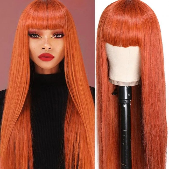 UNice Orange Straight Hair Wigs with Bangs Full Machine Made Colored Wigs Real Human Hair For Women Bettyou Series