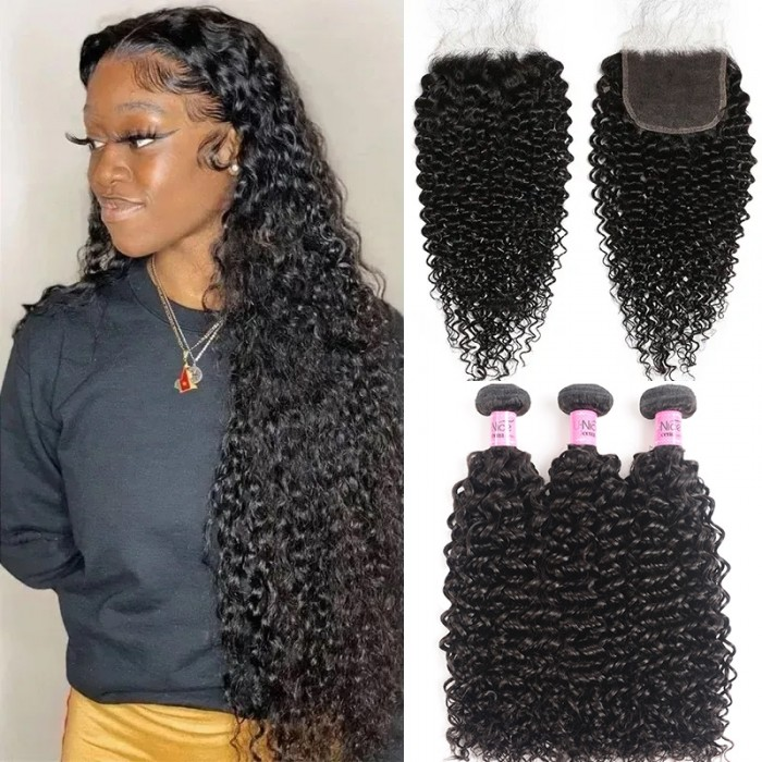 Unice 5x5 HD Transparent Lace Closure With Curly Human Hair 3 Bundles
