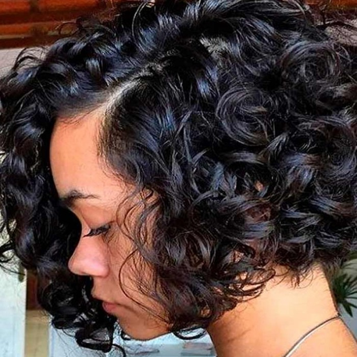 New Fave Glueless Bouncy Curl Short Pixie Cut With Bangs Wear and Go Virgin Hair Wig