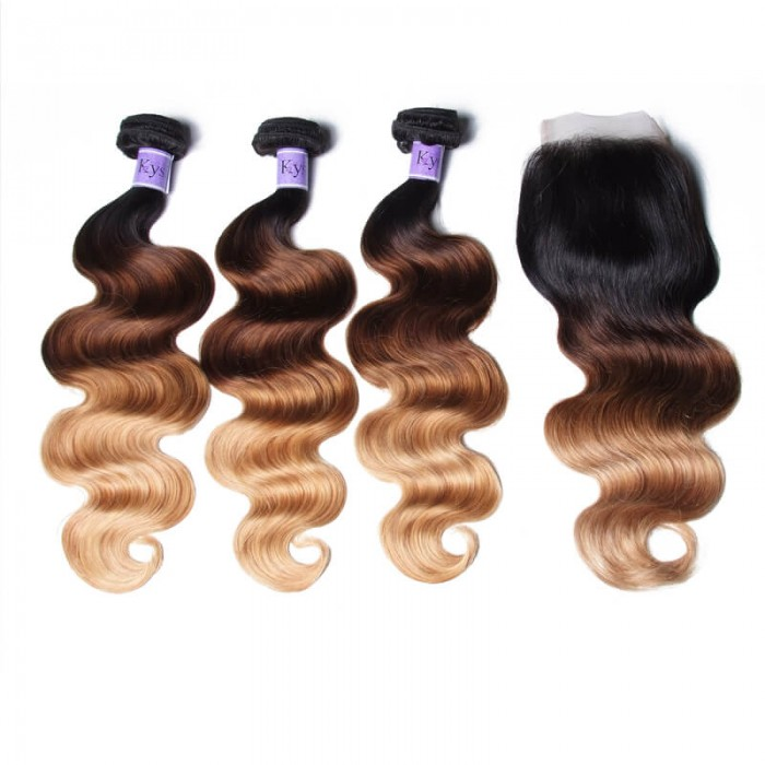 UNice Hair Kysiss Series T1B/4/27 Ombre 3 Bundles Body Wave With Closure 100% Virgin Human Hair