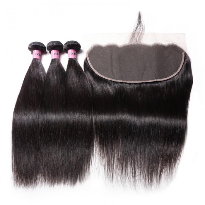 UNice Hair Icenu Series 3 Bundles Straight Human Hair With 13x6 Lace Frontal Closure