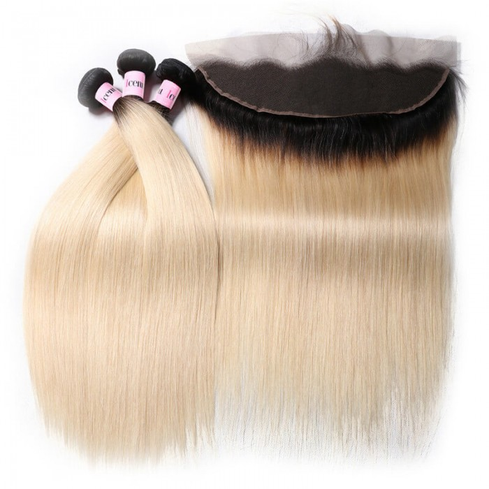 3 Bundles Ombre T1B/613 Blonde Straight Hair Bundles With 13*4 Ombre Lace Frontal Closure