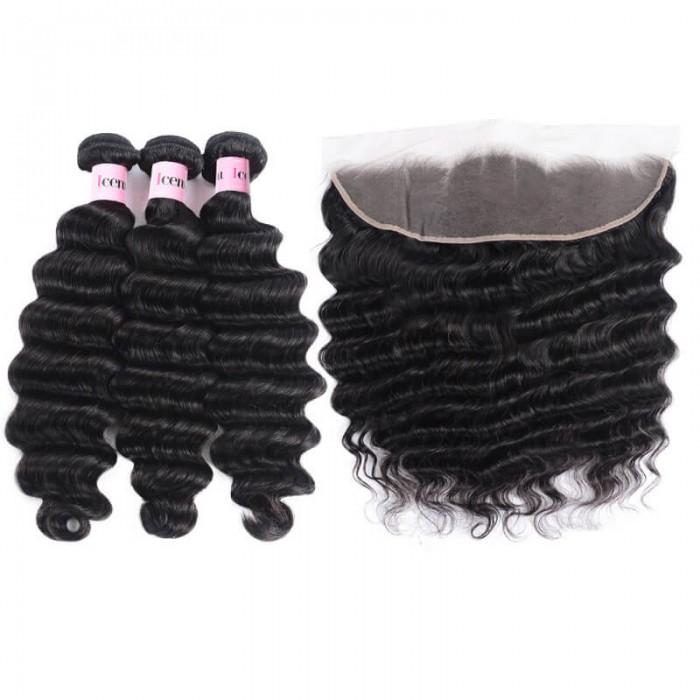 3 Bundles Loose Deep Wave Virgin Human Hair With Frontal Closure
