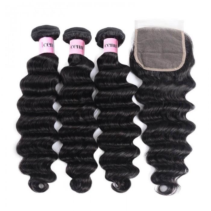3 Bundles Loose Deep Wave Virgin Human Hair With Lace Closure