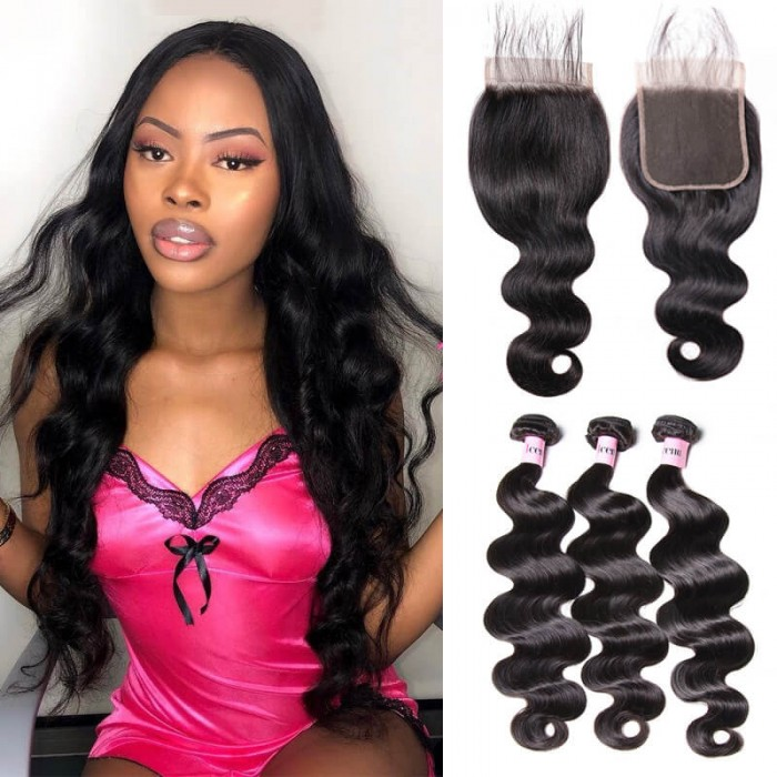 UNice Hair Icenu Series 3pcs 7A Virgin Body Wave Bundles With 5x5 Lace Closure
