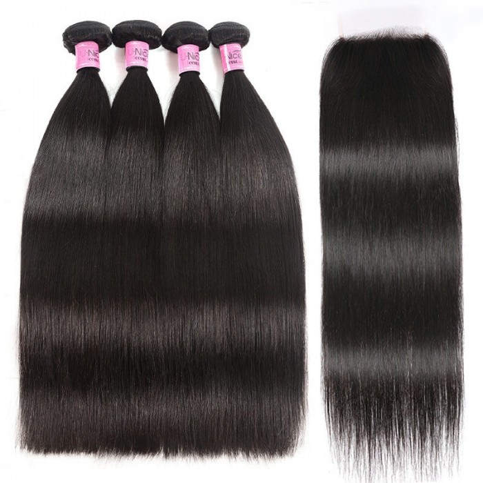 UNice Hair 5X5 HD Lace Closure With 4 Bundles Straight Hair 100% Transparent Lace Closure Invisible Knots Icenu Series