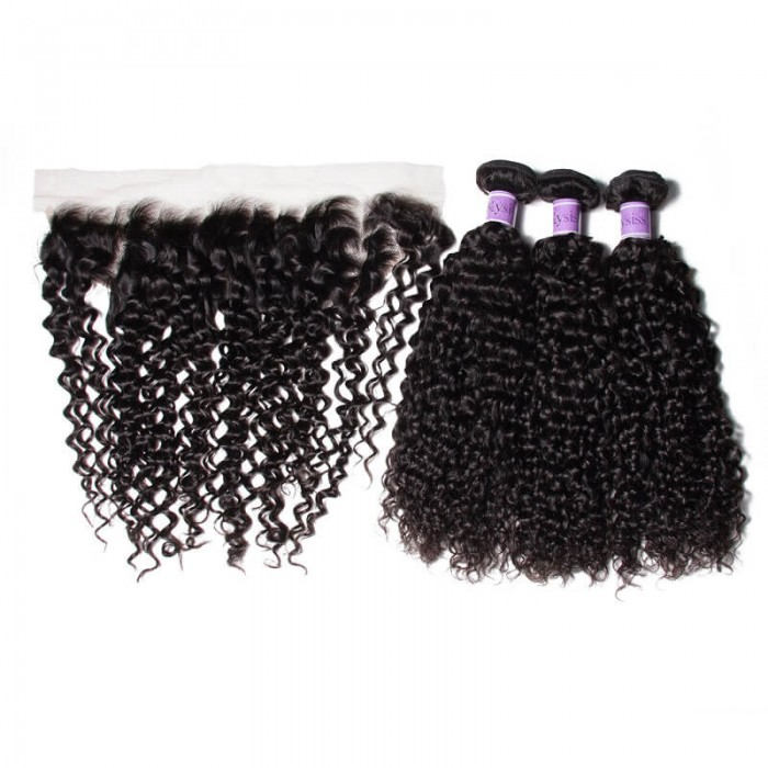 UNice Hair Kysiss Series 3 Bundles Virgin Jerry Curly Hair with Lace Frontal