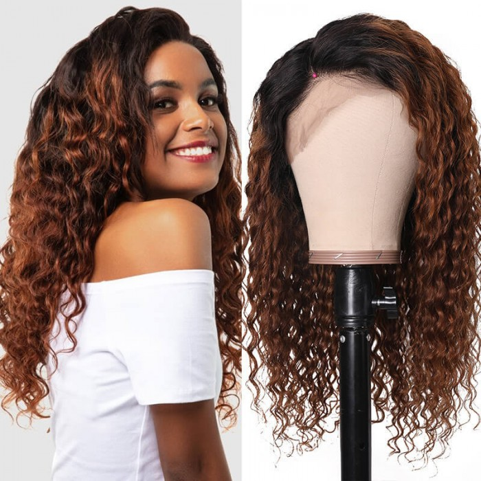 Cut To Free UNice 10 Inch 13x4 Lace Front Curly Wig 150% Density T1b30 Ombre Curly Wig