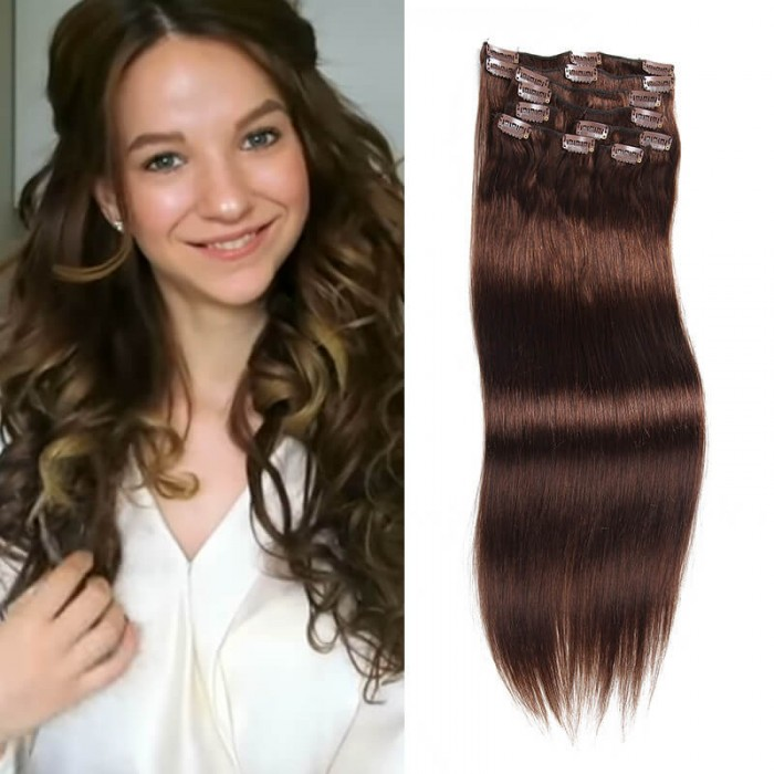 Unice 100g 4 Medium Brown Hair Extensions Clip In Hair 8pcsset