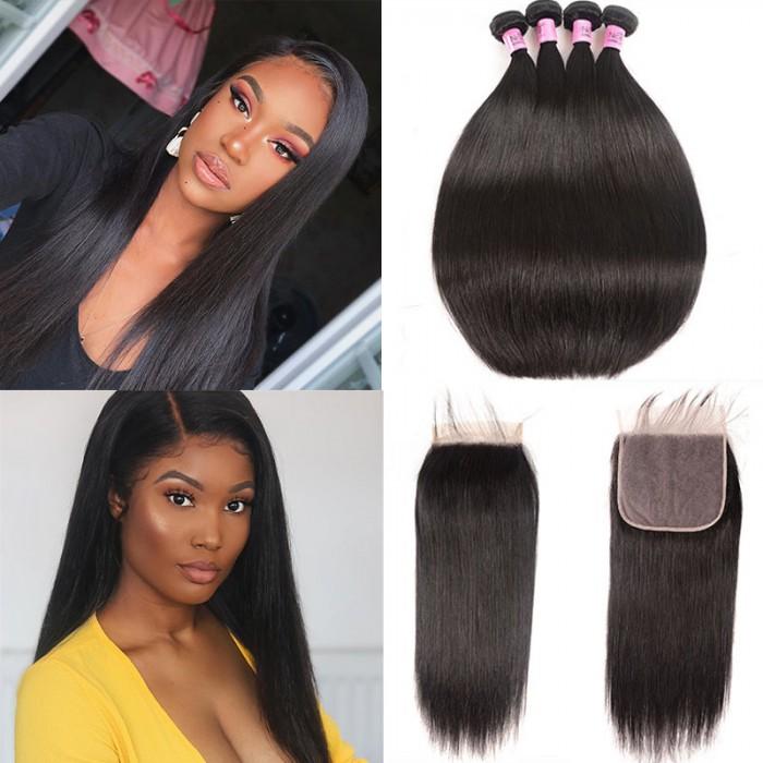 UNice Hair Icenu Series Brazilian Human Hair 4 Bundles With Lace Closure 7x7 straight hair Bundles With Lace Closure Virgin Hair Extensions