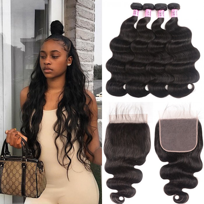UNice Hair Icenu Series Brazilian Human Hair 4 Bundles With Lace Closure 7x7 Body Wave Bundles With Lace Closure Virgin Hair Extensions