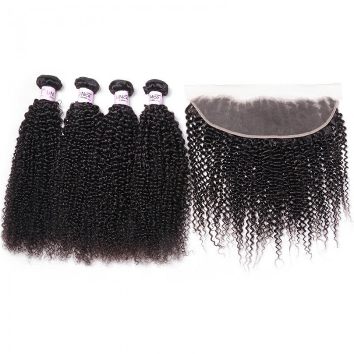 UNice Hair Icenu Series 4pcs Human Kinky Curly Hair With 13x4 Lace Frontal Hair