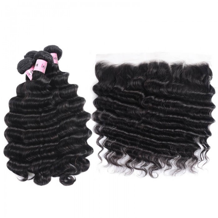 4 Bundles Loose Deep Wave Cheap Human Hair With Frontal Closure On Sale
