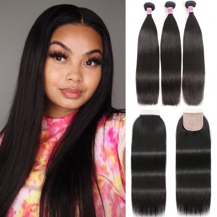 UNice Straight Human Hair 3 Bundles with Skin PU Closure Natural Black 4x4 Free Part Natural Color On Sale