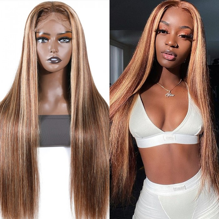 UNice 5x5 HD Lace Wigs Human Hair Straight Honey Blonde with Highlights