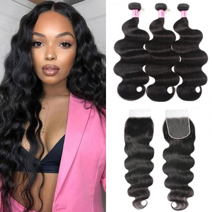 Unice Hair 5x5 HD Lace Closure with Bundles Invisible Knots Body Wave Hair Weaves With Transparent Lace Closure Human Hair Icenu Series