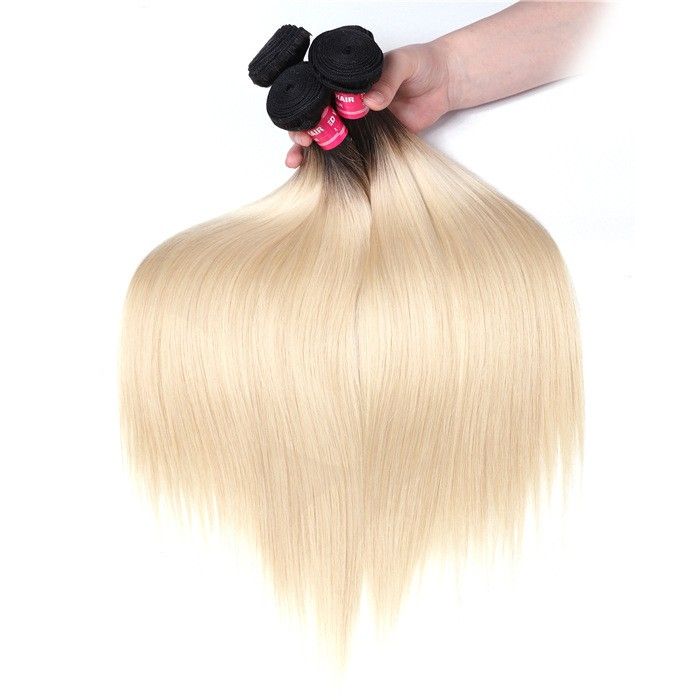UNice Straight Hair 3 Bundles T1b/613 Color Ombre Hair