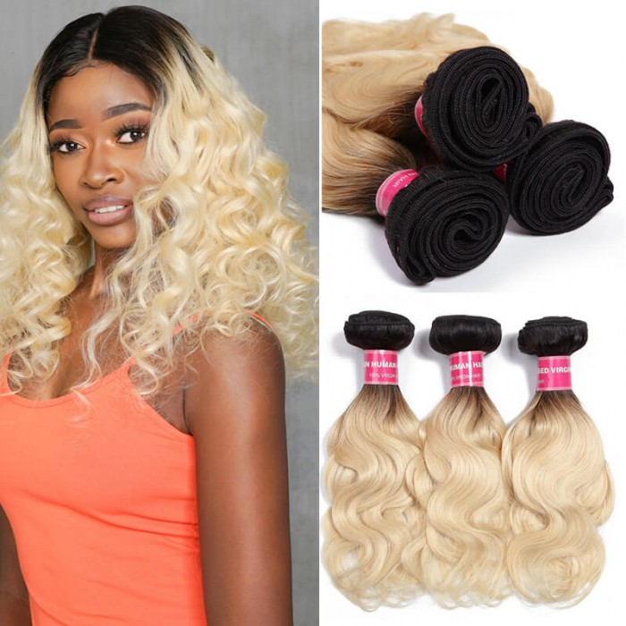 UNice 1B/613 Ombre Hair Weave 3 Pcs Body Wave 100% Virgin Human Hair
