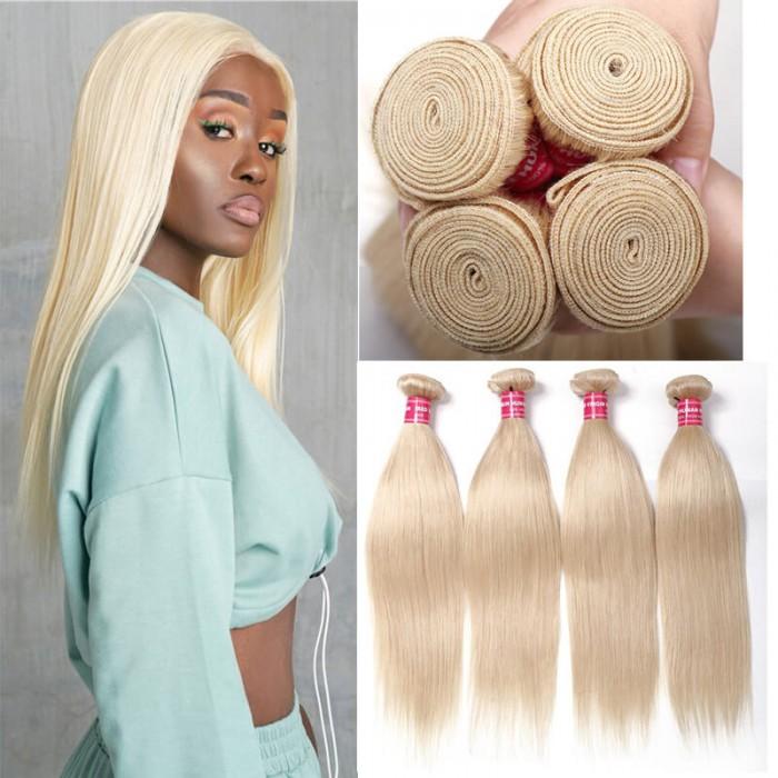 4PCS UNice 613 Blonde Hair Weave Bundle Straight Virgin Human Hair