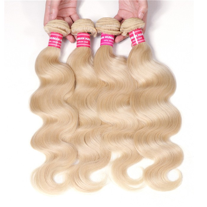 UNice Hair 613 Blonde Virgin Human Hair Wave 4 Bundles Body Wave Hair Weft