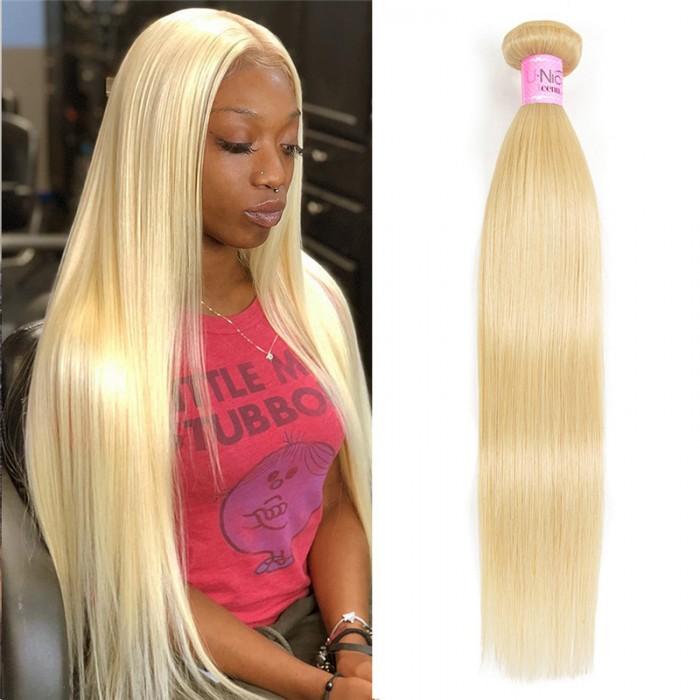 UNice Brazilian Virgin Hair Straight Hair One Bundle Unprocessed Virgin Remy Human Hair Straight Hair Weave Blonde Color Icenu Series