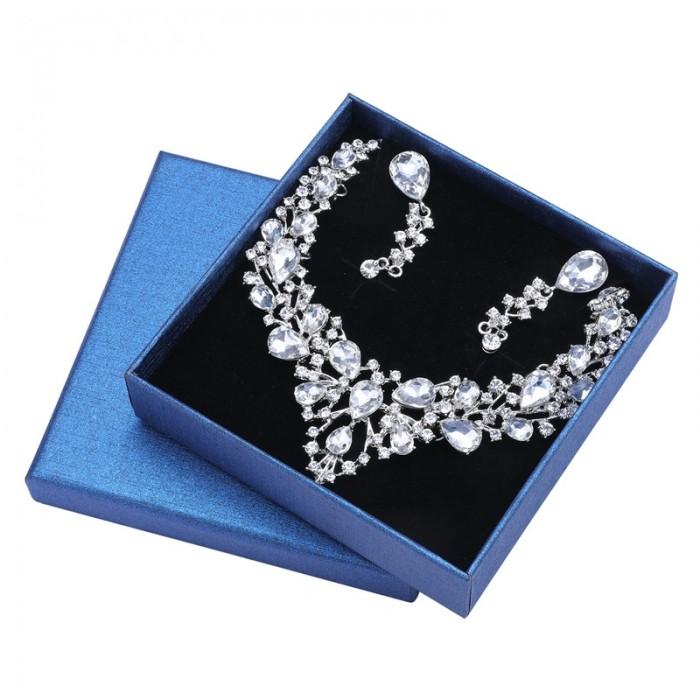UNice Women's Wedding Bridal Austrian Crystal Teardrop Cluster Statement Necklace Dangle Earrings Jewelry Set
