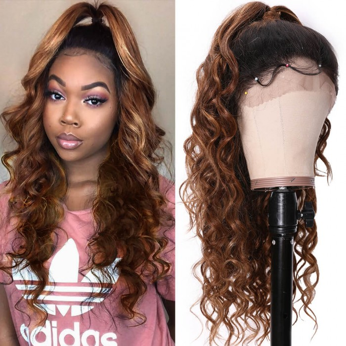 UNice New Curly Hair Wig Honey Blonde 13x4 Ombre Curly Lace Front Wig 14-24 Inch 150% Density Bettyou Series
