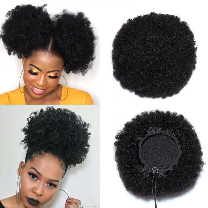 UNice Afro Drawstring Ponytail Human Hair Natural Black Afro Hair Extensions Bettyou Series