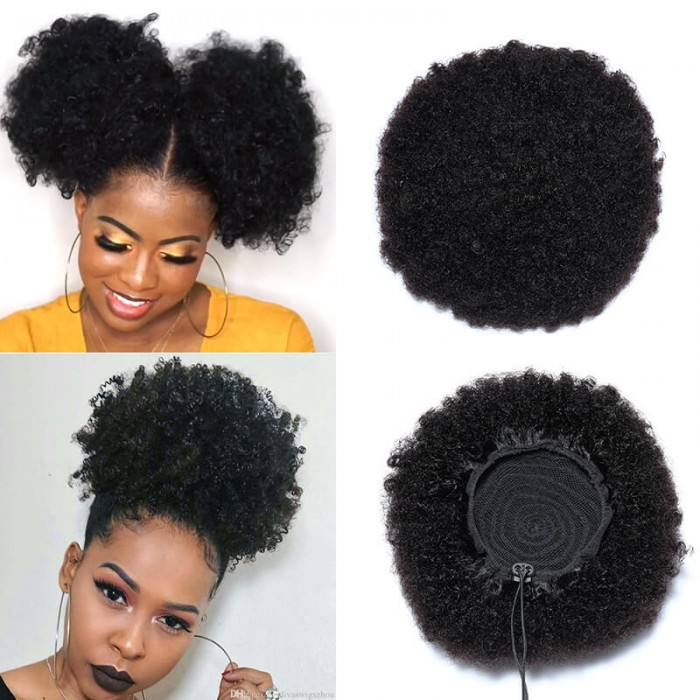 Bonus Buy Afro Drawstring Ponytail  Human Hair Natural Black Afro Hair Extensions Bettyou Series