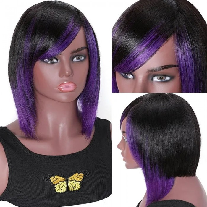Unice Hair Highlight Bob Human Hair Wig Wigs For African American Women 150% Density 10inch Purple And Black Full Machine Made Wig Bettyou Series