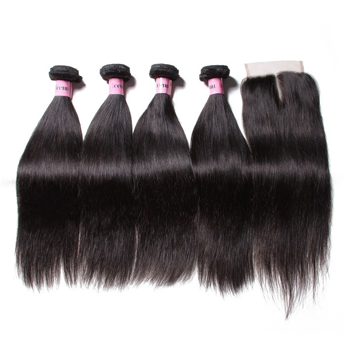 Straight Virgin Hair With Lace Closure