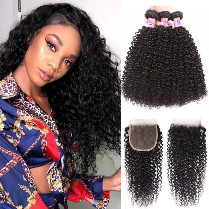 UNice Hair Icenu Series Kinky Curly Virgin Hair 4x4 inch Lace Closure With 3 Bundles Virgin Hair