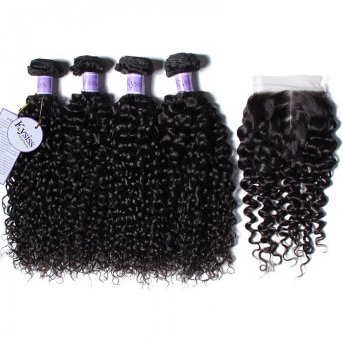 UNice Hair Virgin+ Kysiss Series 4pcs Curly With 4x4 Lace Closure Unprocessed Indian Hair