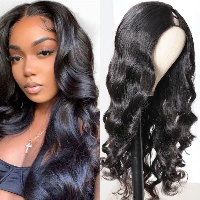 Black Friday Pre-sale UNice 150% Heavy Density Body Wave U Part Hair Wig‎ Natural Color Brazilian Human Hair U part Wigs For Women Bettyou Series