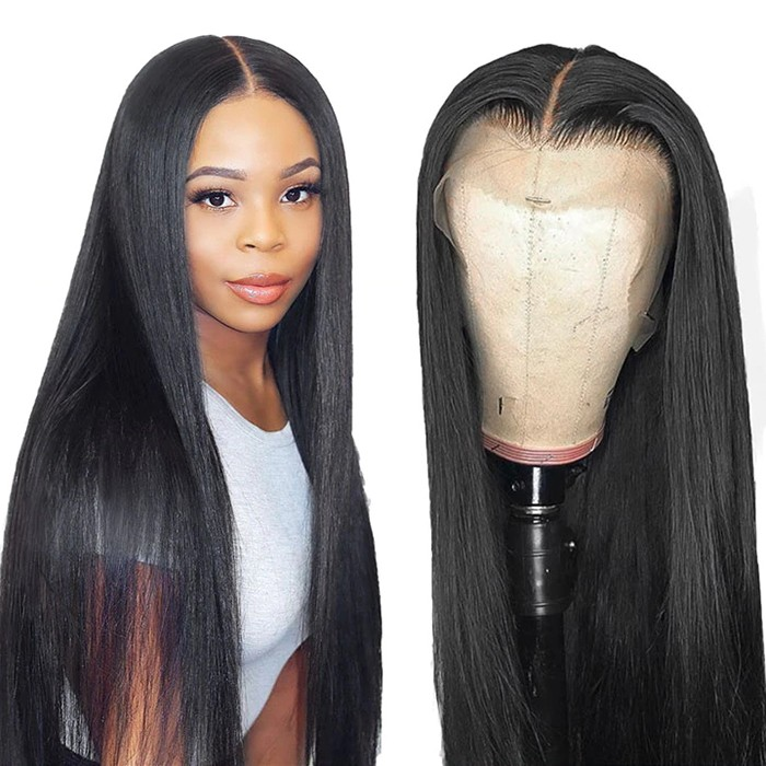UNice 13x6 Straight Transparent Lace Front Wigs Human Hair 150% Density Brazilian Human Hair Wig with Baby Hair Pre Plucked Natural Hairline Wigs for Black Women Bettyou Series