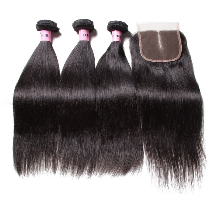 UNice Hair Icenu Series 3pcs Malaysian Straight Virgin Hair Bundles With Lace Closure