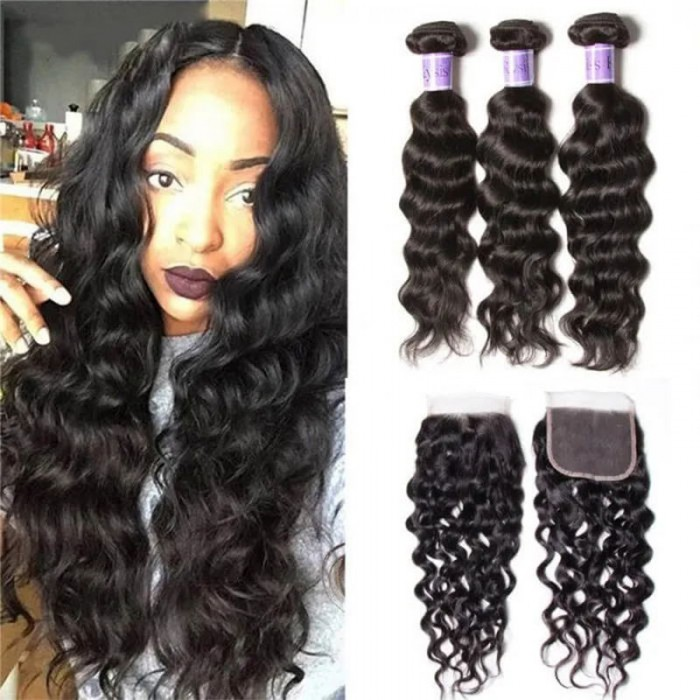 UNice Hair Brazilian Natural Wave 3 Bundles With Lace Closure On Sale Kysiss Series