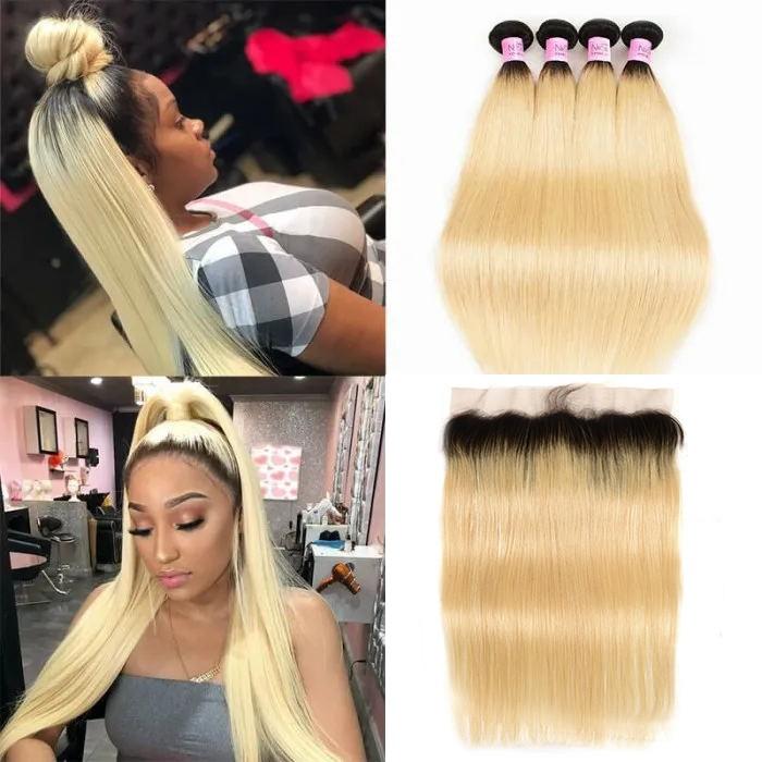UNice Hair 1B/613 Dark Root Blonde Virgin Hair 4Pcs Straight Virgin Human Hair With Lace Frontal Closure