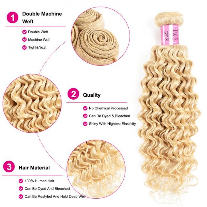 UNice Hair Icenu Series 1 Bundle Deal Blonde Deep Wave Hair Bundles Pure Virgin Hair Deep Weave 613 Blonde Bundles